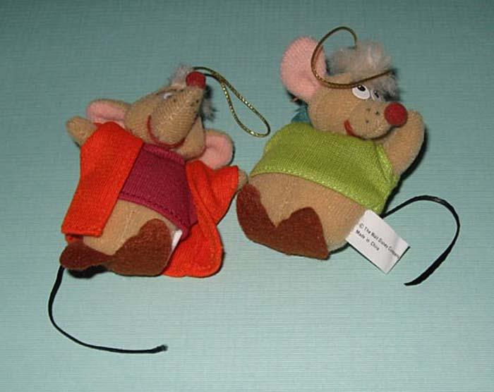 Cinderella's Jaq and Gus Plush Christmas Ornaments